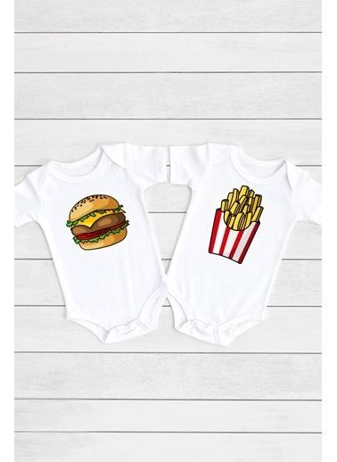 Happy Onesie Co Hamburger Patates 2'li Çıtçıtlı Bebek Body Takım  Beyaz